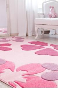 Webteppich Pink Blumen mit Konturenschnitt Kinderteppich von Reinkemeier