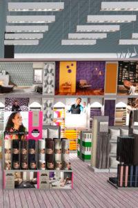 Visualisierte Darstellung einer Teppichabteilung von Reinkemeier Ladenbau
