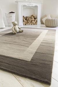 Original Nepal Teppich Linea Hellbraun Wohnzimmer hochwertig von Reinkemeier