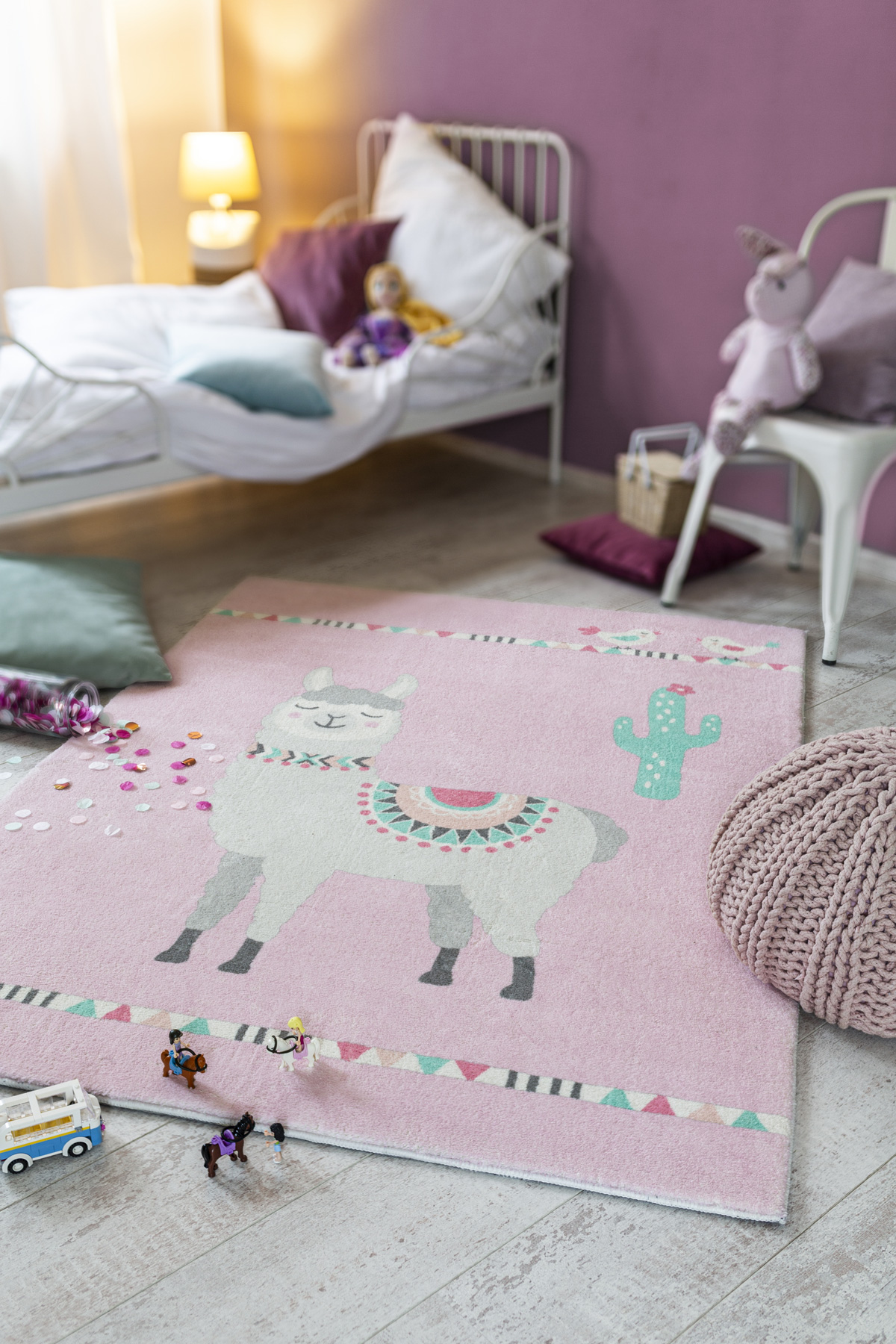 Kinderteppich Lama rosa Kinderzimmer von Reinkemeier-Rietberg