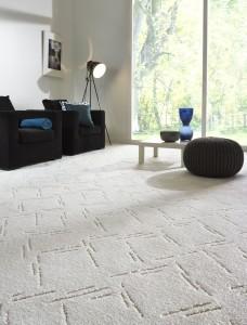 Weicher Cut-Loop Teppichboden in Beige und Creme mit einer Hoch-Tief Struktur